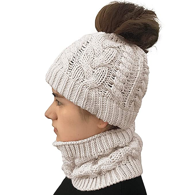 Amazon.com  VeMee Ponytail Hats Women s Beanie Tail Cable Knit Ponytail  Beanie Hat Warm Knit Messy High Bun Ponytail Hat Beanie Cap (Beige)   Clothing df472b94c84