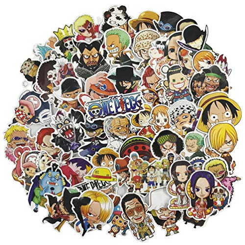 One Piece Anime Cartoon Laptop Stickers for Teen and Kids Water Bottle Waterproof Skateboard Pad MacBook Car Snowboard Bicycle Luggage Decal 60pcs Pack