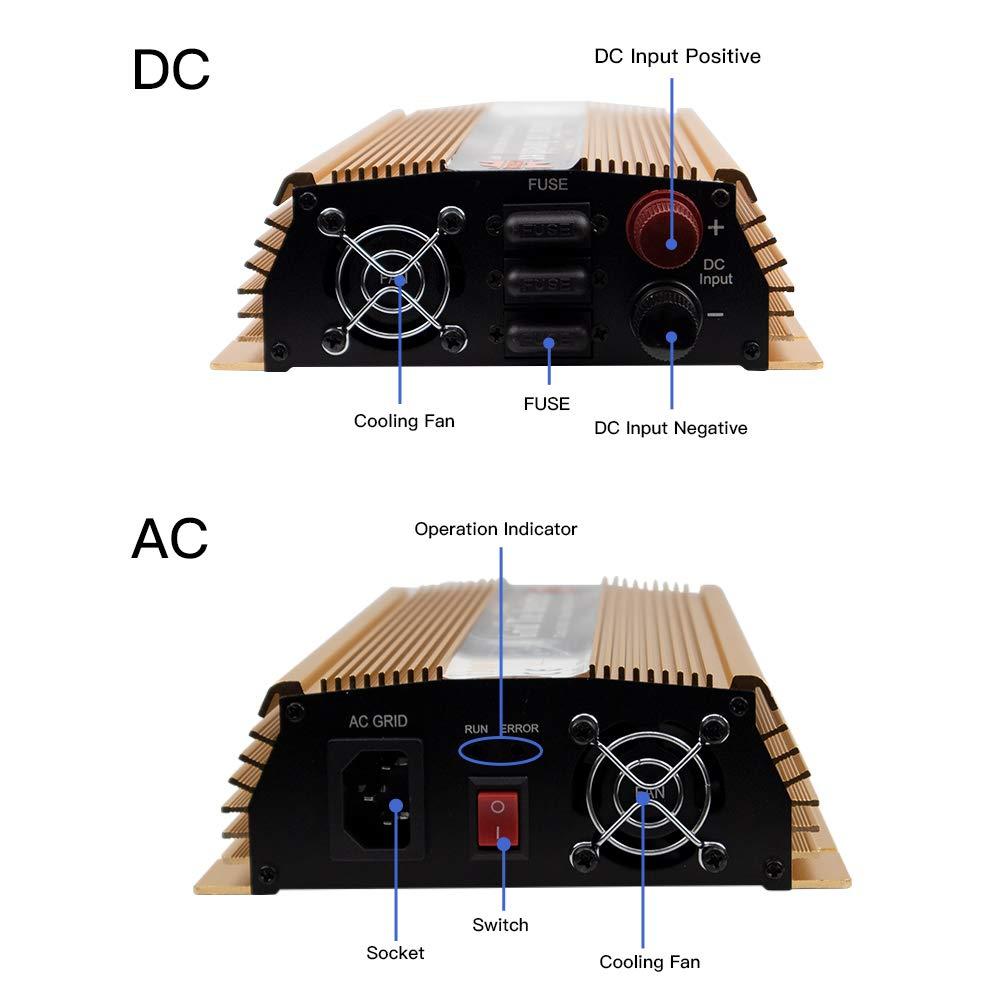 Marsrock 1000W Grid Tie Micro Solar Inverter, 20-50VDC to 90-140VAC MPPT Pure Sine Wave Inverter for 1200W 30V, 36V Solar Module System (AC120V Gold) by Marsrock (Image #5)