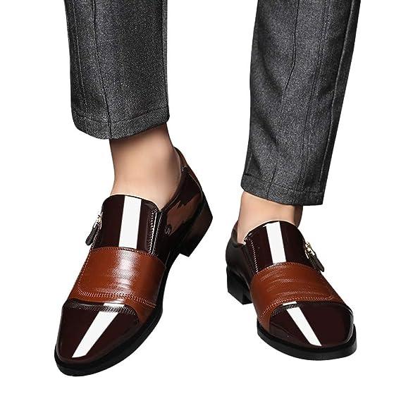 Zapatos de hombre JiaMeng Moda Zapatos Casuales Zapatos de Vestir de Negocios Punta en Punta Zapatos de un Pedal Casual con Cremallera Lateral con ...