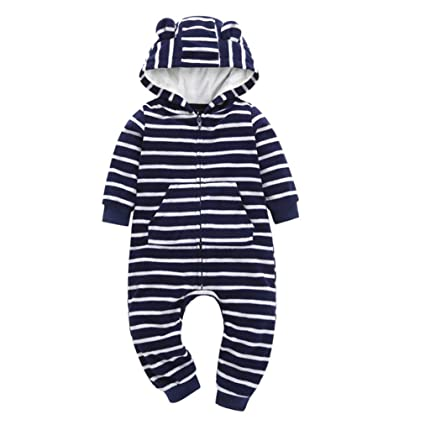 9cd3eecc8cd4 Amazon.com  Newborn Baby Boy Girl Winter Clothes Striped Soft Hooded ...