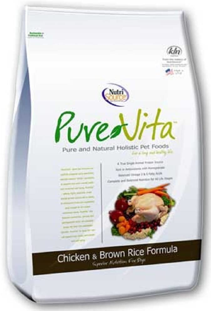 Pure Vita Dry Dog Food - Chicken & Brown Rice - 15 Lbs