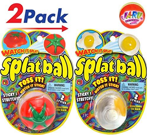 (JA-RU Splat Ball Sticky & Stretchy (Pack of 2) Egg & Tomato Bundles with a Bouncy Ball. 5301-2slp)