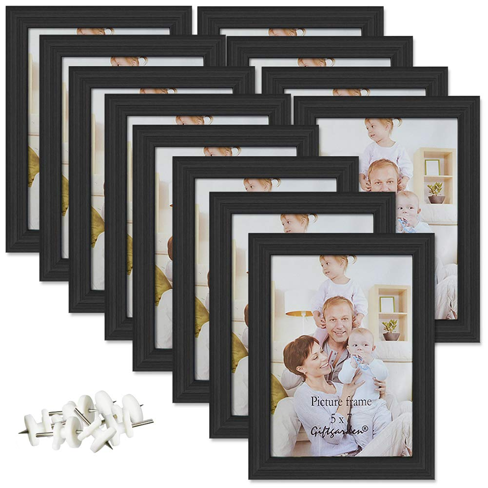 Giftgarden 5x7 Picture Frame for Wall Decor or Tabletop, Black, Pack of 12