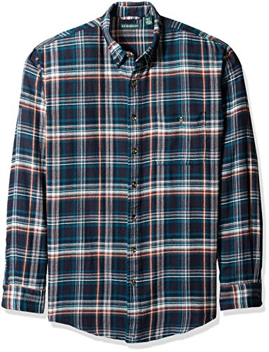 G.H. Bass & Co. Men's Big and Tall Fireside Flannel Plaid Long Sleeve Shirt, Blue Salute, 3X-Large Tall