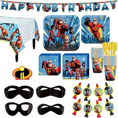 The Incredibles 2 Birthday Party Kit Includes Happy Banner Candle And Eye Masks