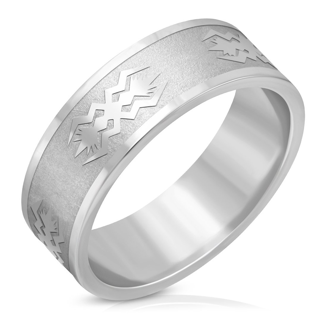 Stainless Steel Matte Finished Geometric Wave Flat Band Ring