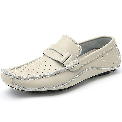 Mocasines para Caminar Zapatos Casuales de Cuero de los Hombres de Verano Zapatos sin Cordones de la Parte Inferior Suave Zapatos de Barco: Amazon.es: ...
