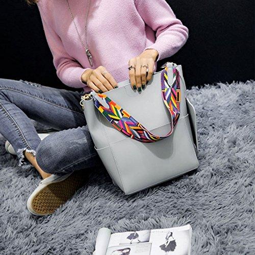Fashion Women Bag Leather Two Set Purse and Handbags Famous Brands Designer Handbag Bucket Bag Female Shoulder Bags sac a main Grey One Size