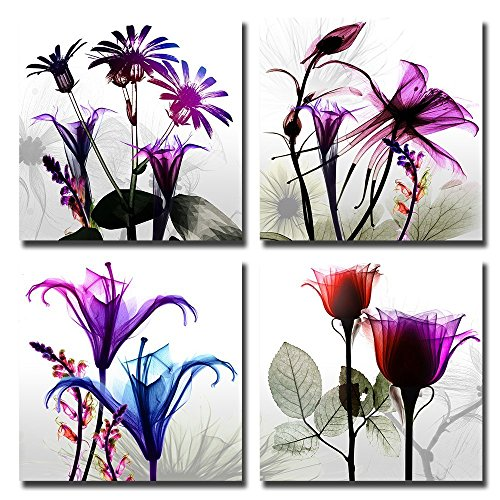 Canvas Prints Kitchen (Natural art – 4 Panels Huge Modern Giclee Prints Artwork Multi Flowers Pictures Photo Paintings Print on Canvas Wall Art for Home Walls Decor Stretched and Framed Ready to Hang (16×16in×4pcs))