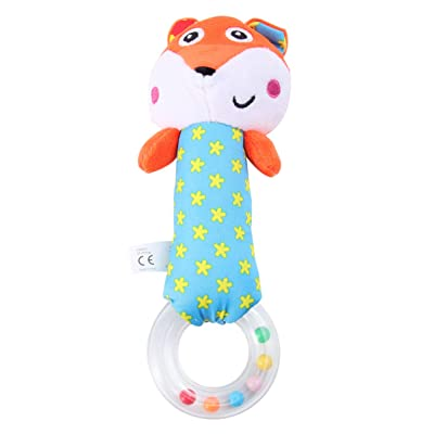 NUOBESTY Baby Rattles Plush Fox Animal Grab and Spin Hand Rattle Shaking Bell Soothing Toys Handbell Infant Gift Newborn Favors: Toys & Games