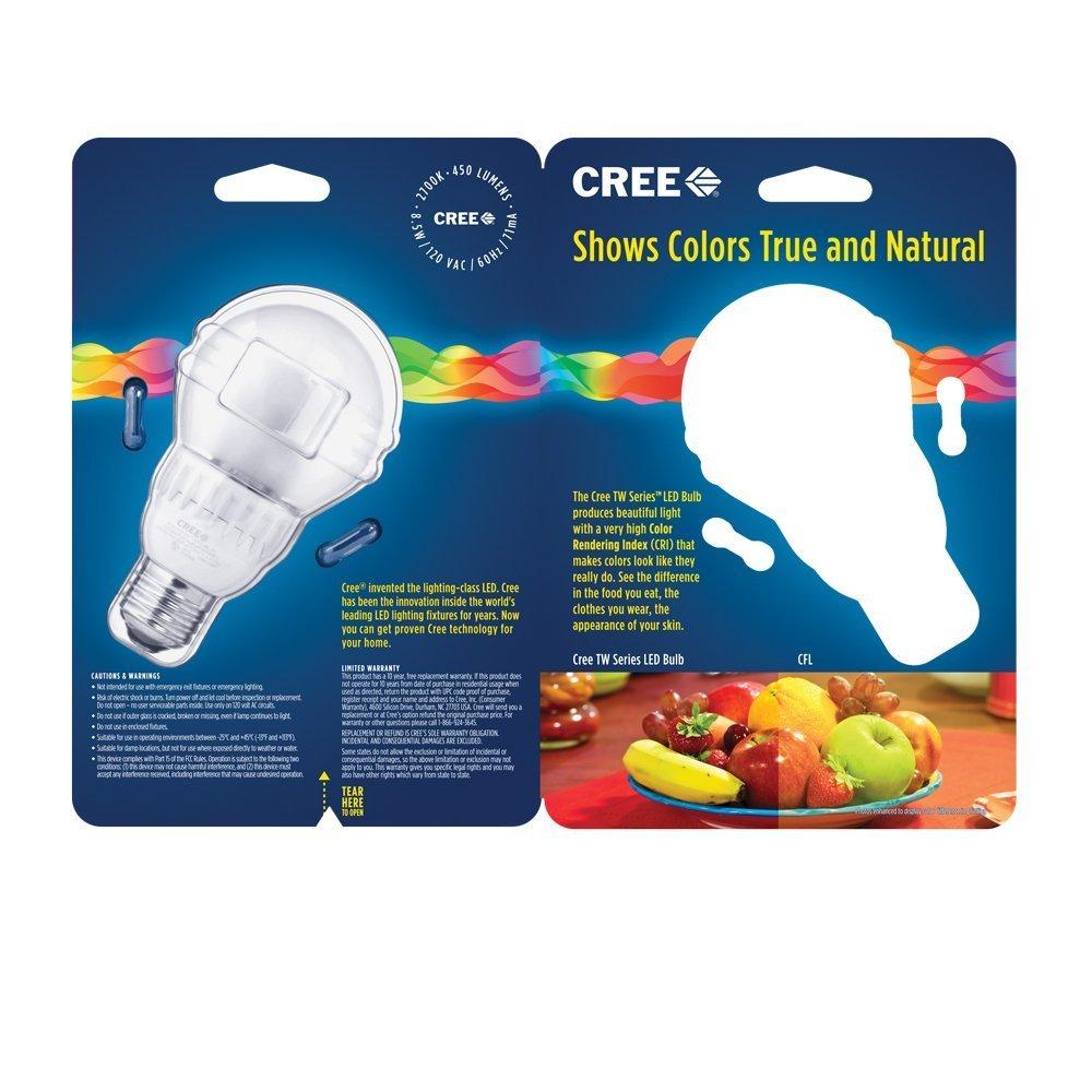 Dimmable LED - 8.5 Watt - A19 - Omni-Directional - 40 Watt Equal - 450 Lumens - CRI 93-2700K Warm White - 120 Volt - Cree BA19-04527OMN - - Amazon.com