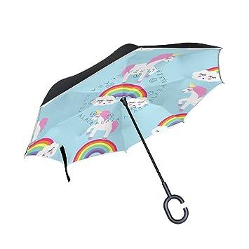 TIZORAX Unicornio de Dibujos Animados Arcoíris invertido Doble Capa Recto Paraguas Interior Reversible con Mango en