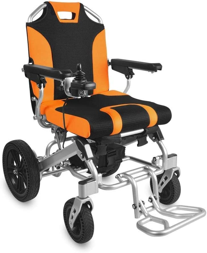 LYDIANZI Energía Eléctrica silla de ruedas motorizada Vespa Fold viaje ligero plegable Silla de ruedas eléctrica segura, Aviación viajes de alimentación de batalla silla de ruedas plegable Tamaño 80 *