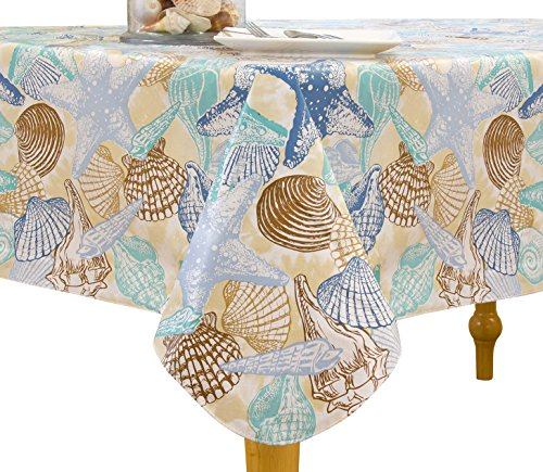 Elrene Home Fashions Vinyl Tablecloth with Polyester Flannel Backing Shell Beach Easy Care Spillproof, 70