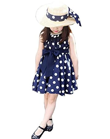 f5494a7887fa Image Unavailable. Image not available for. Color  FEITONG 1PC Kids  Children Clothing Polka Dot Girl Chiffon Sundress Dress