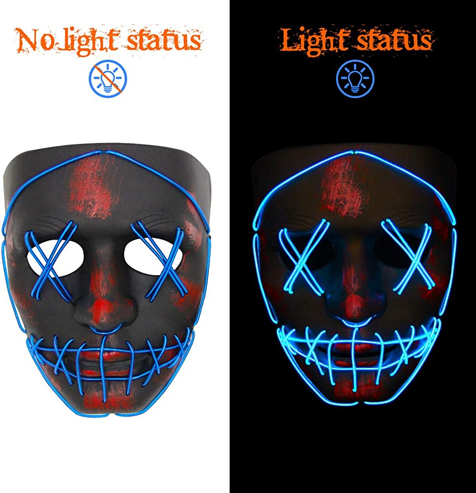 VATOS Halloween Mask LED Light Up Scary Mask for Festival Cosplay Halloween Masquerade Costume Parties Black