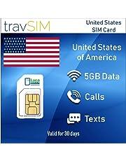 travSIM Prepaid SIM-Karte USA & Puerto Rico Lycamobile 4 GB Mobile Data - Unbegrenzte Nationale & Internationale Anrufe + SMS - 3G 4G LTE 30 Tage Standard Micro Nano