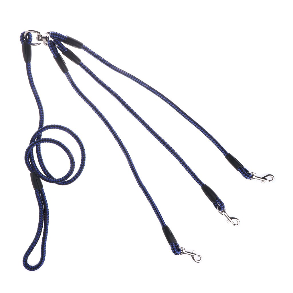 qingqingR Outdoor Pet Supplies Cane 3 Testa Traction Rope Nylon Intrecciato Wear Dog Chain Blue /& Black 1Pc