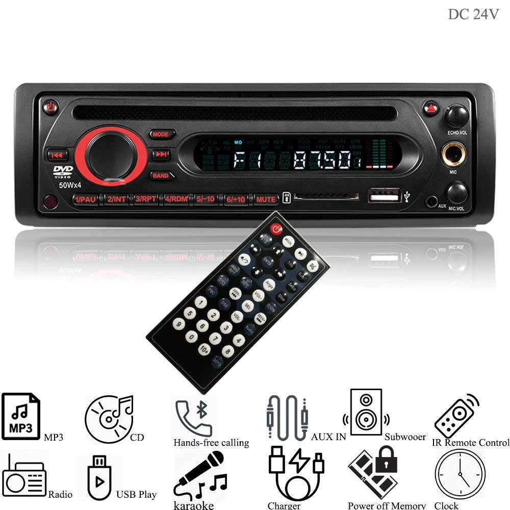 Hi-azul Car Stereo, 1 Din In-dash DC 12V/ 24V Car Radio Autoradio AUX Audio CD Player Head Unit Support In-car Karaoke, Bluetooth, FM Radio, IR Remote Control, USB/SD, CD Player (for 24V Vehicles) Hiland