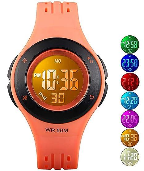 Relojes Digitales para niños y niñas, 50 m, Resistente al Agua, con Alarma, cronómetro, Reloj de Pulsera de Clase Superior para niños y niñas: Amazon.es: ...