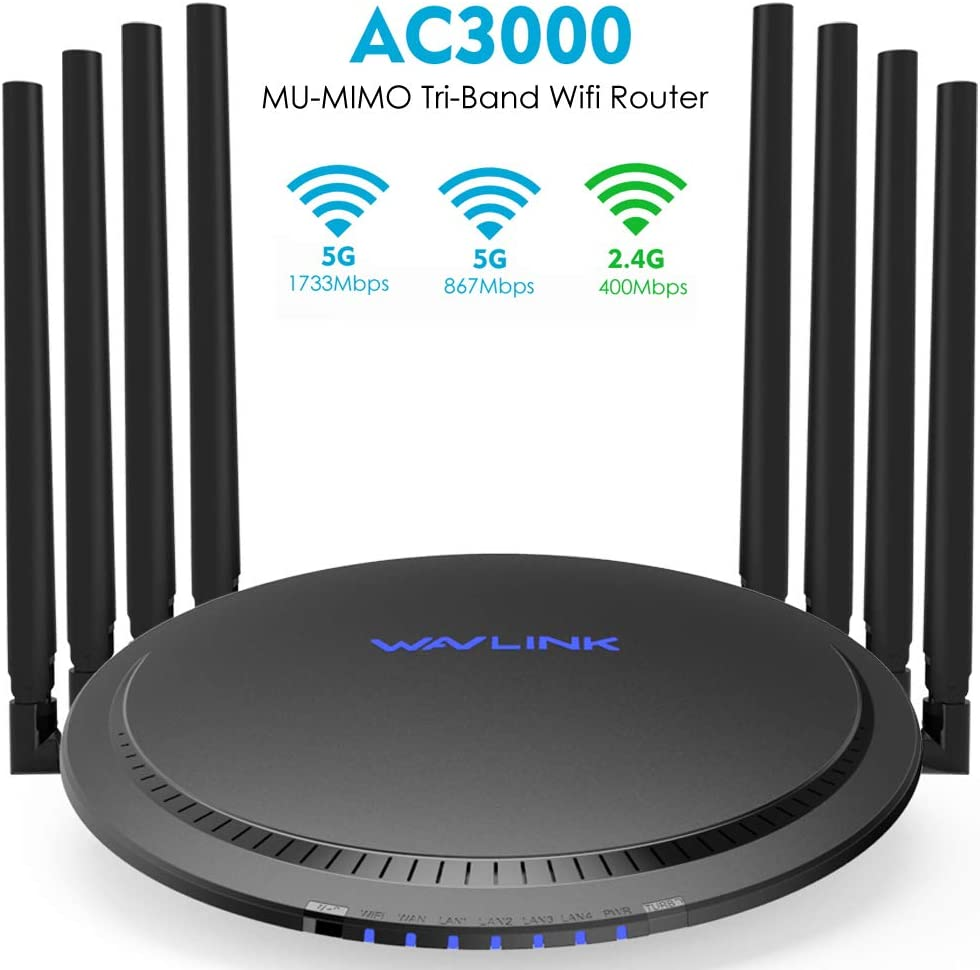 WAVLINK WiFi Router AC3000 Wireless Tri-Band Gigabit Router/High Speed WiFi Range Extender,4K Streaming and Gaming with USB 3.0 Ports Wireless Internet Router,Parental Control&QoS