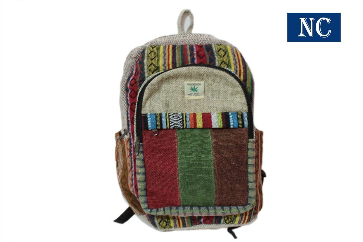 Striped Hemp and Colorful Cotton Backpack Handmade Nepal with Laptop Sleeve - Fashion Cute Travel School College Shoulder Bag / Bookbags / Daypack