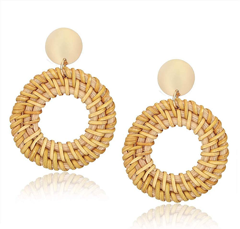 Rattan Earrings Bohemia Handmade Geometric Drop Earrings For Women Boho Rattan Straw Weave Knit Vine Earring Vacation 10
