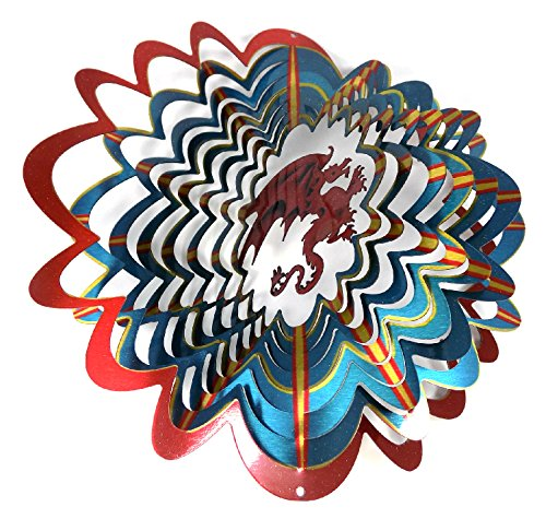 WorldaWhirl Whirligig 3D Wind Spinner Hand Painted Stainless Steel Twister Mystical Dragon (12 Inch, Multi Color)
