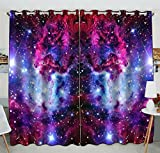 Custom Galaxy Window Curtain,Galaxy Space,Universe Stars Grommet Blackout Curtain Room Darkening Curtains For Bedroom And Kitchen Size 52(W) x 84(H) inches (Two Piece)