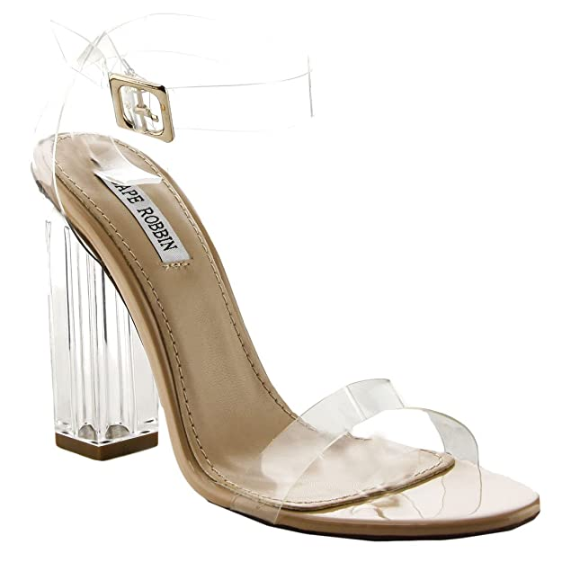 8efe8baa338 Cape Robbin Maria-2 Women's Lucite Clear Strappy Block Chunky High Heel  Open Peep Toe Sandal