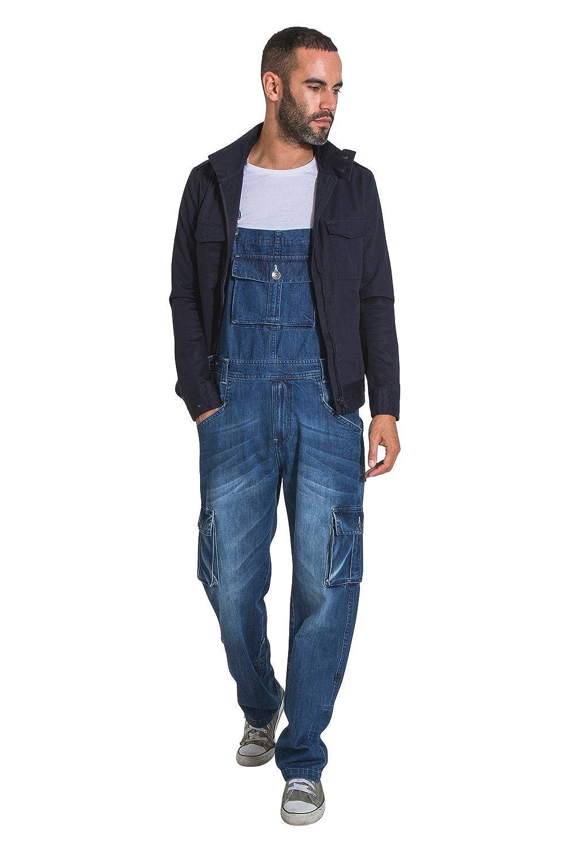 Uskees Bill Salopette Taglio Largo Midwash Salopette di Jeans per Uomo BILL1MIDWASH
