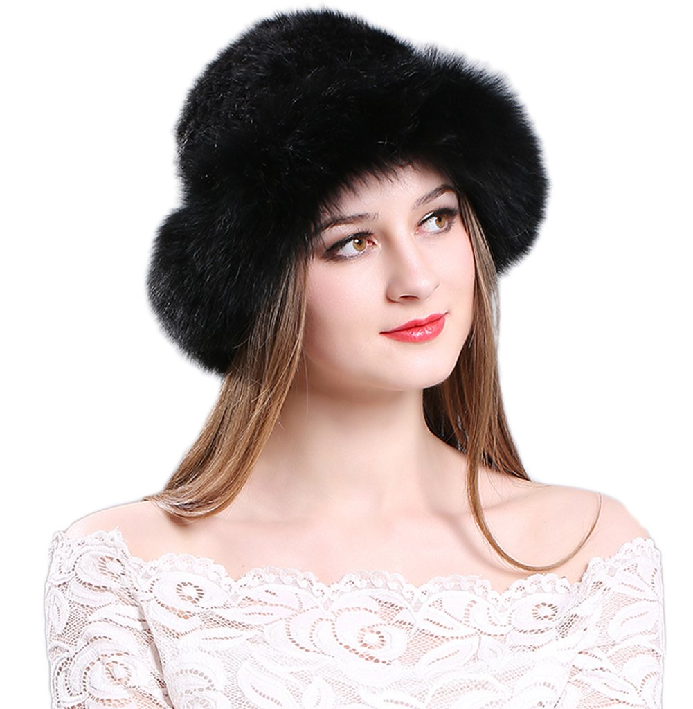 Bingooutlet Women Winter Mink Fur Bucket Hats Roller Knitted Cap Fox Fur Brim Hat