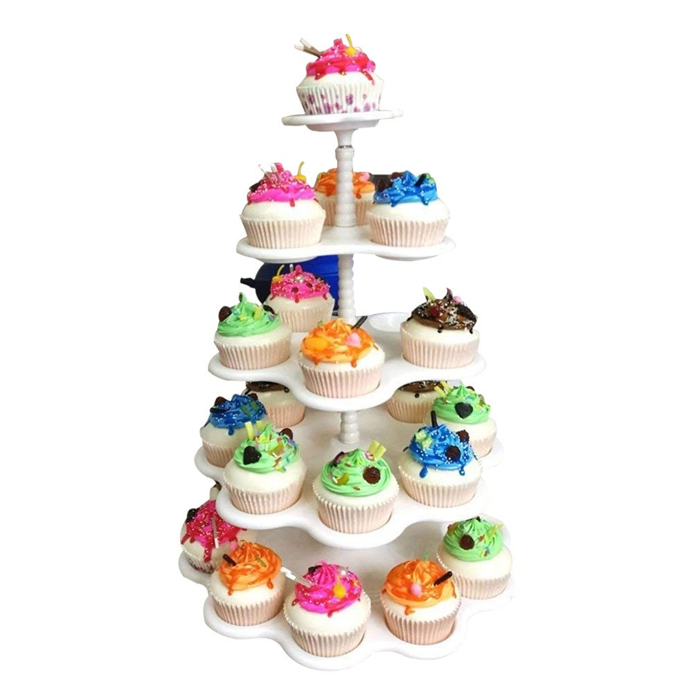 Agyvvt 5-Tier Cupcake Stand Holder Display Tree Cake Plate Plastic Stand White for Cakes Desserts Fruits Candy Buffet Stand for Wedding & Home & Birthday Party Serving Platter