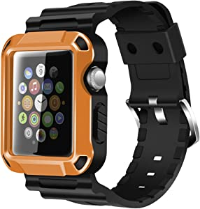 iiteeology Compatible with Apple Watch Band 42mm, Rugged Protective iWatch Case and Band Strap with Built-in Screen Protector for Apple Watch Series 3/2/1 (Orange)