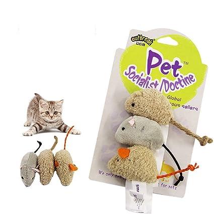 Kelly Harvest House Ratón de 3 Piezas Juguete de Gato con Catnip, Ratones Falsos