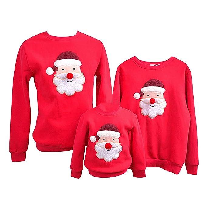 Pengniao Sudadera Navidad Jersey Navideño Sudaderas Navideñas Familiares Niño Niña Sueter Hombre Mujer Reno Sweaters Estampadas Pullover Cuello Redondo ...