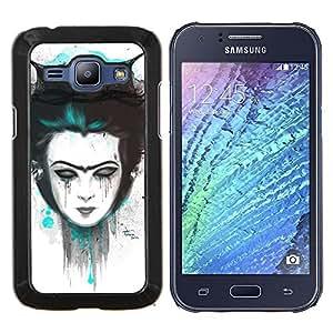 KLONGSHOP // Cubierta de piel con cierre a presión Shell trasero duro de goma Protección Caso - Triste chica Emo - Samsung Galaxy J1 J100 //