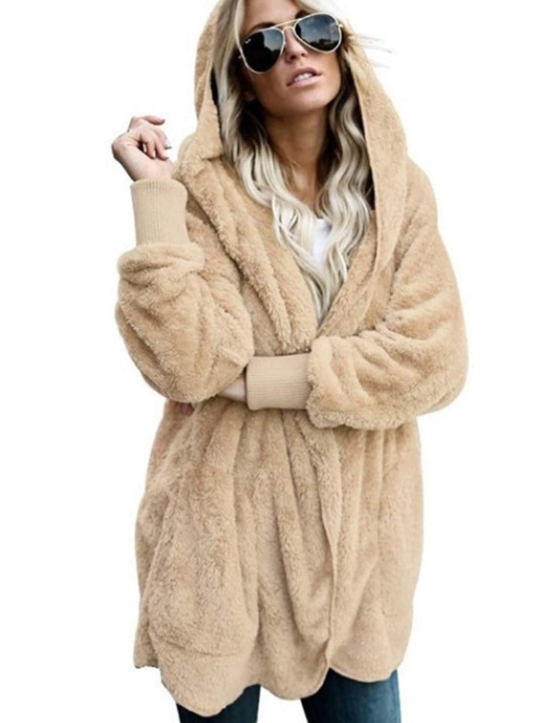 Naliha Fuzzy Sweater Cardigan Coat Hoodie Womens Casual Faux Fur Jacket Outerwear