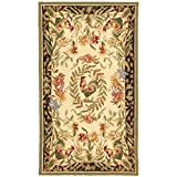 "Safavieh Chelsea Collection HK92A Hand-Hooked Cream and Black Premium Wool Area Rug (2'9"" x 4'9"")"