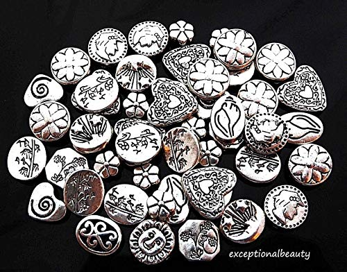 50 Assorted Antiqued Tibetan Silver Flat Round Coin Heart Oval Hex Spacer Beads