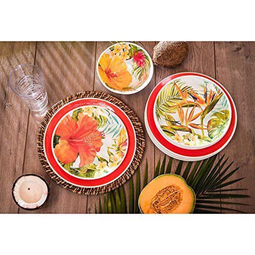 Melamine Dinnerware Tropical Design Set of 18 Pieces (Red)