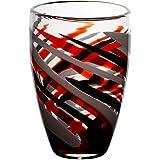 """Vaso, vaso in vetro, vaso esclusivo, collezione """"FLAME"""",rosso/grigio/nero, 28 cm, lavorato a mano (AMARA DESIGN powered by CRISTALICA)"""