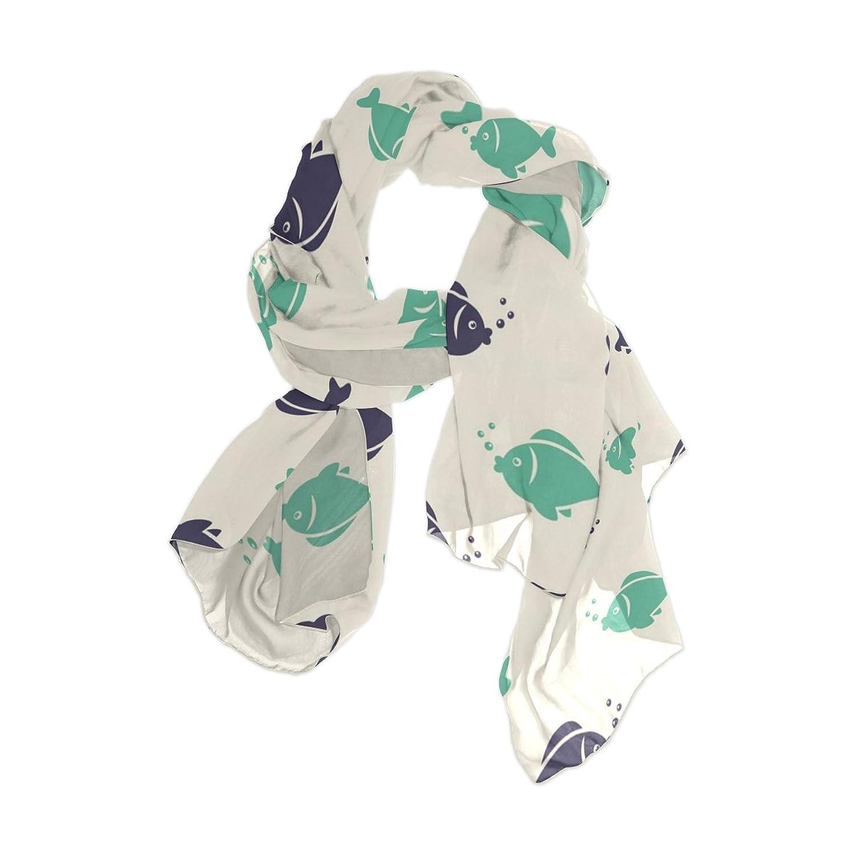 Senya Women's Fashion Large Long Sheer Silk Scarf Shawl Wrap, Sea Design Elements