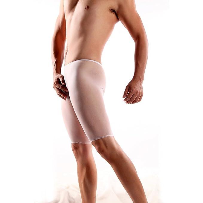 OOCOME Hombres Pantalones cortos elásticos sin fisuras del tronco sin abrir pantalones Quinta medias atractivas del