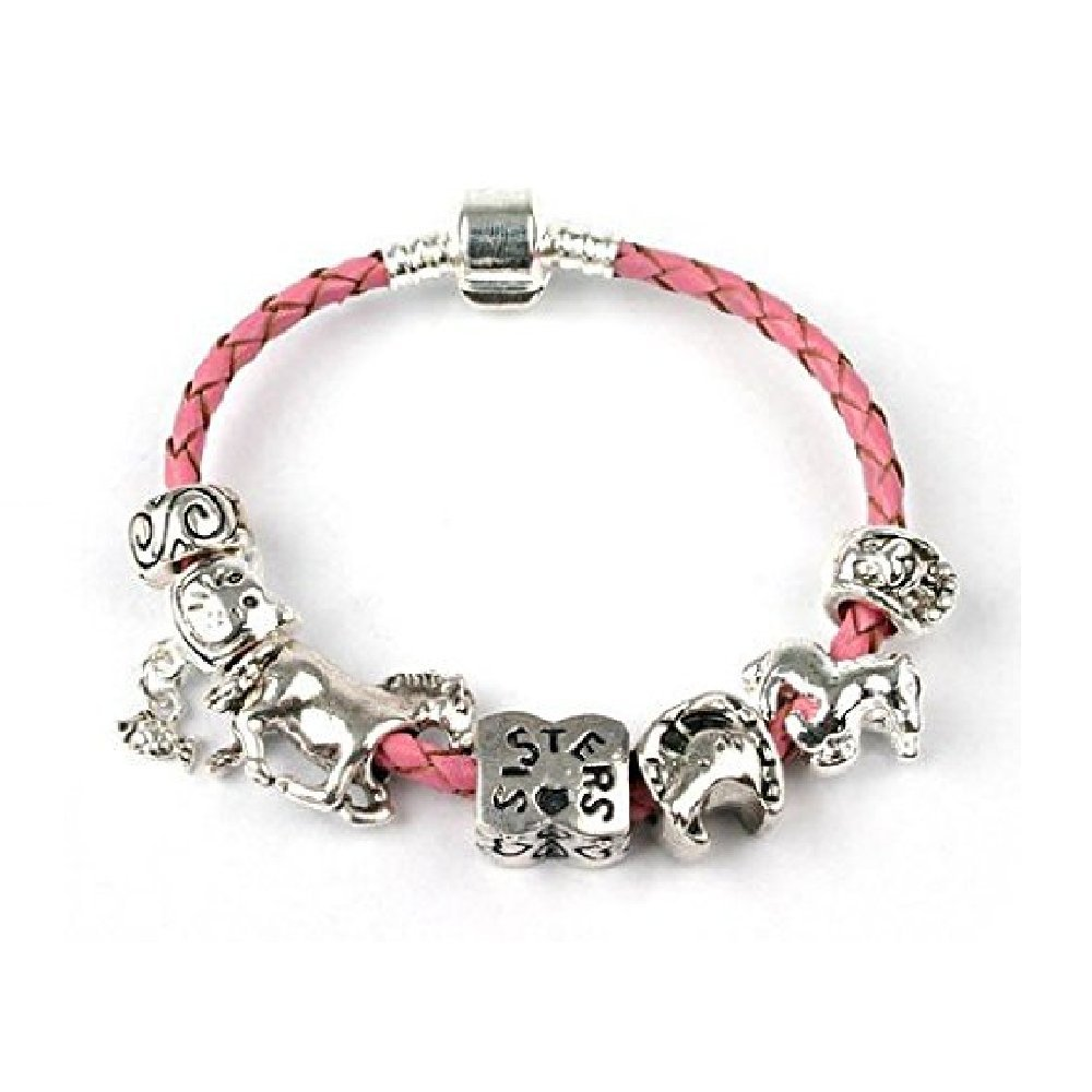 Liberty Charms Teenagers Wild Horses Sisters Pink Leather Charm//Bead Bracelet with Silver Plated Clasp