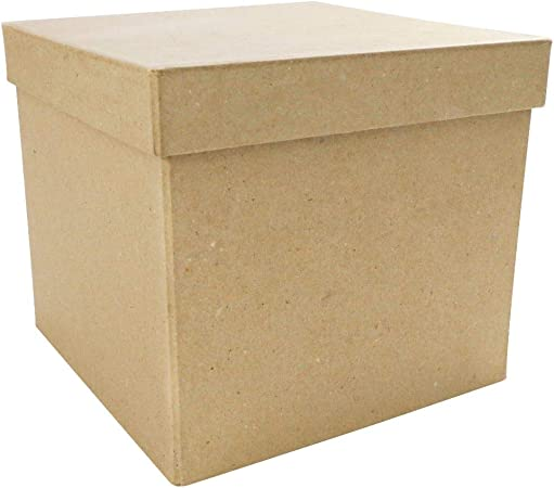 Decopatch Caja de Papel MachÉ Cuadrada, de 16 x 16 x 14 cm, Color marrón: Amazon.es: Hogar
