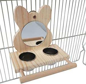 Bird Food Cups with Perch,Parrot Mirror Toys for Bird Cage,Hanging Wooden Bird Stands with 2 Stainless Steel Food Bowls,Bird Feeding and Watering Supplies for Parakeets Conures Cockatiels