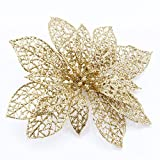 "Yosoo 5Pcs 6"" Glitter Hollow Flowers for Wedding Party Decor and Christmas Xmas Tree Decorations (Gold)"