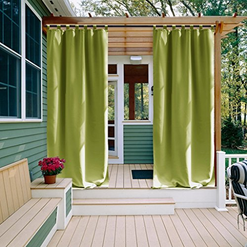 NICETOWN Outdoor Drape and Curtain for Pergola, Window Treatment Energy Saving Thermal Insulated Indoor Outdoor Blackout Curtain with Tab Top for Living Room (1 Piece, 52 by 108-Inch, Fresh Green)